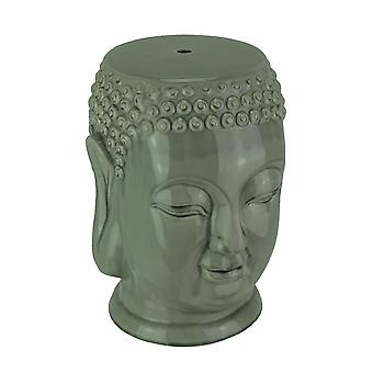 Beautiful Glossy Gray Ceramic Buddha Head Garden Stool