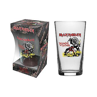 Iron Maiden Pint Glass Number Of The Beast Band Logo new Official Boxed