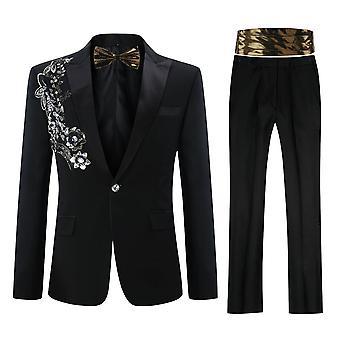 Allthemen Hommes Tuxedos Applique Banquet Slim Fit 4-Pieces Blazers-Pantalon-Tie-Girdle