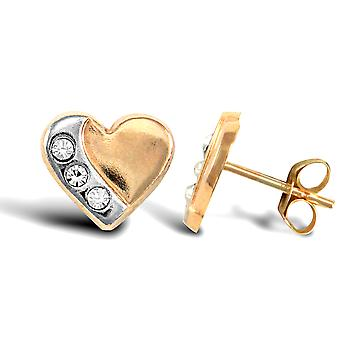 Jewelco London Ladies 9ct Yellow and White Gold White Round Brilliant Cubic Zirconia Pave Love Heart Stud Earrings