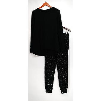 AnyBody Pajama Sets Loungewear Cozy Knit Top w/ Pantalones Negro A296084