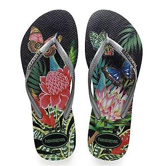 Tropical Havaianas, Black Straps, Metallic Logo Slim Style