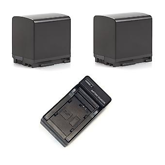 2 batteri + 1 oplader til Canon BP-820 VIXIA HF20 HF G10 G60 S100 M300 XA20 XA10 vs