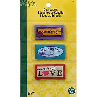 Dritz Quilting Sew-In Embroidered Labels 9/Pkg-Made With Love 3244
