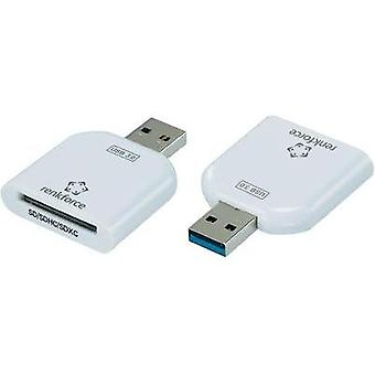 External memory card reader USB 3.0 Renkforce CR10e-Slim White
