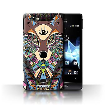 STUFF4 Case/Cover for Sony Xperia Miro/ST23I/Wolf-Colour/Aztec Animal