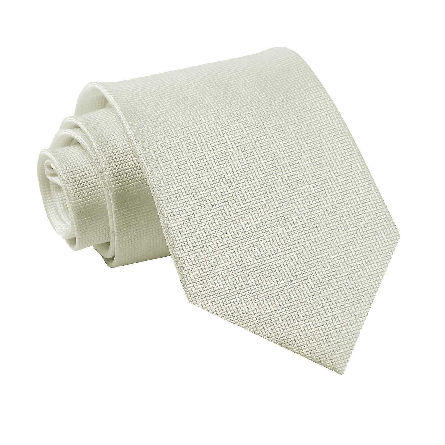 Solid Check Ivory Tie