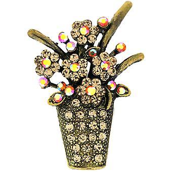 Broscher Store antik guld AB & Topaz Crystal Flower Basket brosch