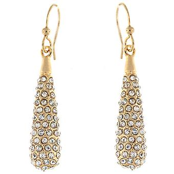 Gold und Swarovski Kristall länglich Tränenblech Ohrringe