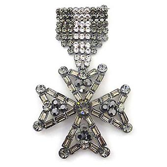 Butler & Wilson Black Diamond Military Cross Medal Brooch