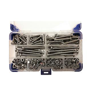 280 Piece M4 Pan Slotted Machine Screws Zinc Plated with Nuts and Washers