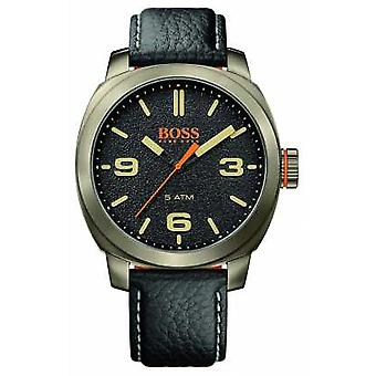 Hugo Boss Orange Mens Cape Town Black Leather Strap Gold Tone Case Black Dial 1513409 Watch