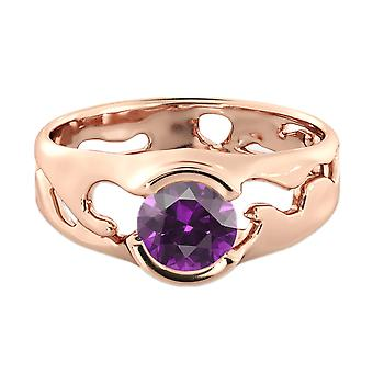1.00 CT Amethyst Ring 14K Rose Gold Unique Solitaire Designer