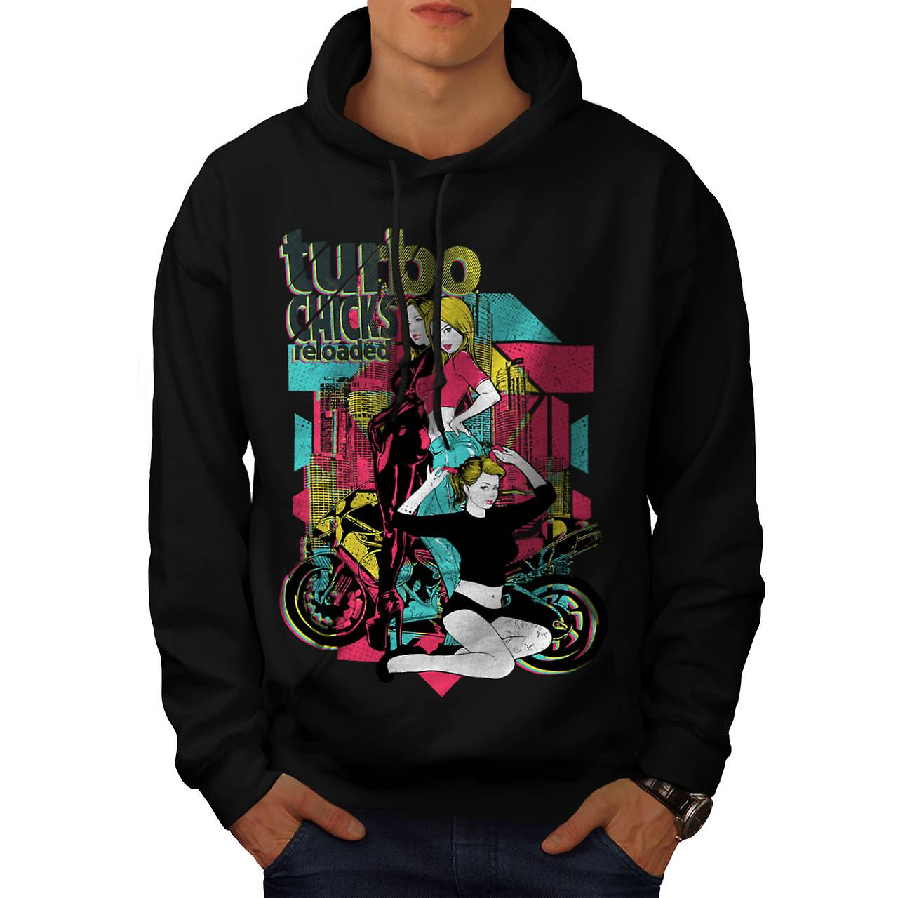 Turbo Chick Biker Gang Racer Bike Men Black Hoodie | Wellcoda