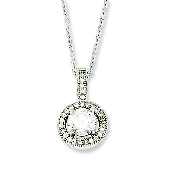 Sterling Silver Pave Rhodium-plated Lobster Claw Closure and Cubic Zirconia Brilliant Embers Necklace - 18 Inch