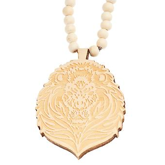 Wood style Bead Necklace - beige lion