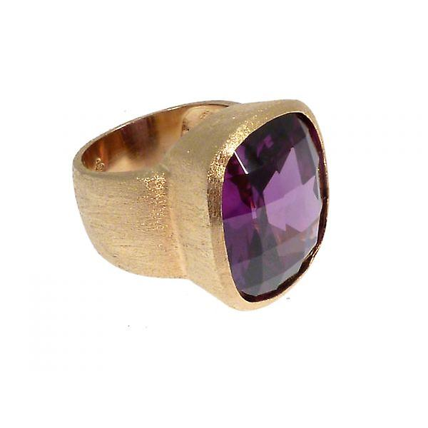 W.A.T Gold Plated Sterling Silver Round Purple CZ Cocktail Ring