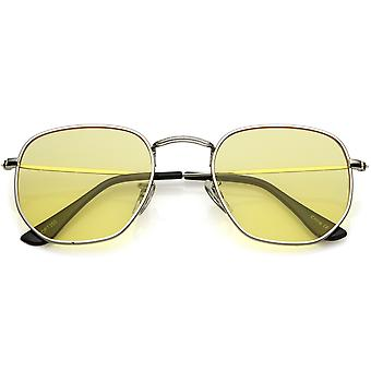 Modern Geometric Hexagonal Sunglasses Metal Slim Arms Colored Tinted Flat Lens 51mm