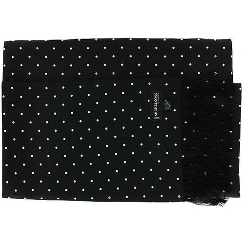 Michelsons of London Polka Dot Broad Silk Scarf - Black