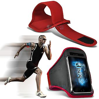 OnePlus One Fitness Running Jogging Cycling Gym Armband Holder Case Cover (Red)