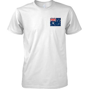 Australia gequält Grunge Effekt Flaggendesign - Mens Brust Design T-Shirt