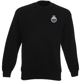HMS X artesanato bordado logotipo - camisola oficial da marinha real dos pesos-pesados