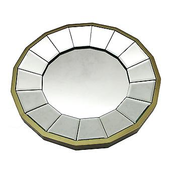 13 1/2 Inch Diameter Gold Finished Pie Plate Wall Mirror