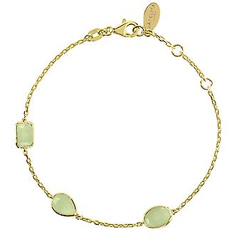 Latelita Gold Light Green Aqua Chalcedony Multi Gemstone Bracelet 925 Silver