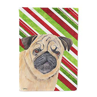 Carolines Treasures  SC9331-FLAG-PARENT Pug Candy Cane Holiday Christmas Flag