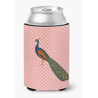 Indian Peacock Peafowl Pink Check Can or Bottle Hugger