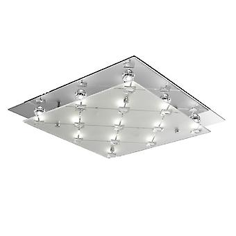 Searchlight 3822CC LED Square Flush Ceiling Light With Clear And Frosted Shades In Chrome