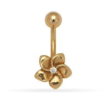 14 k Gelb Gold Zirkonia 14 Gauge baumelt Blume Körper Schmuck Bauch Ring - Maßnahmen 23x11mm