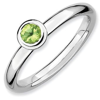 Sterling Silver Bezel Polished Rhodium-plated Stackable Expressions Low 4mm Round Peridot Ring - Ring Size: 5 to 10