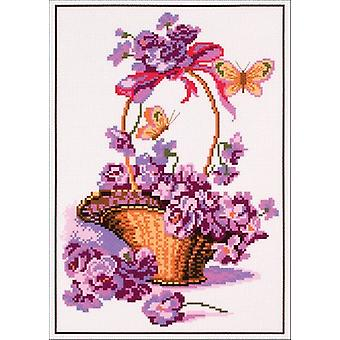 Collection D'art Stamped Cross Stitch Kit 28x37cm-Basket With Flowers CDPA0399