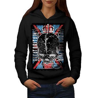 Great Britain Queen Women BlackHoodie | Wellcoda