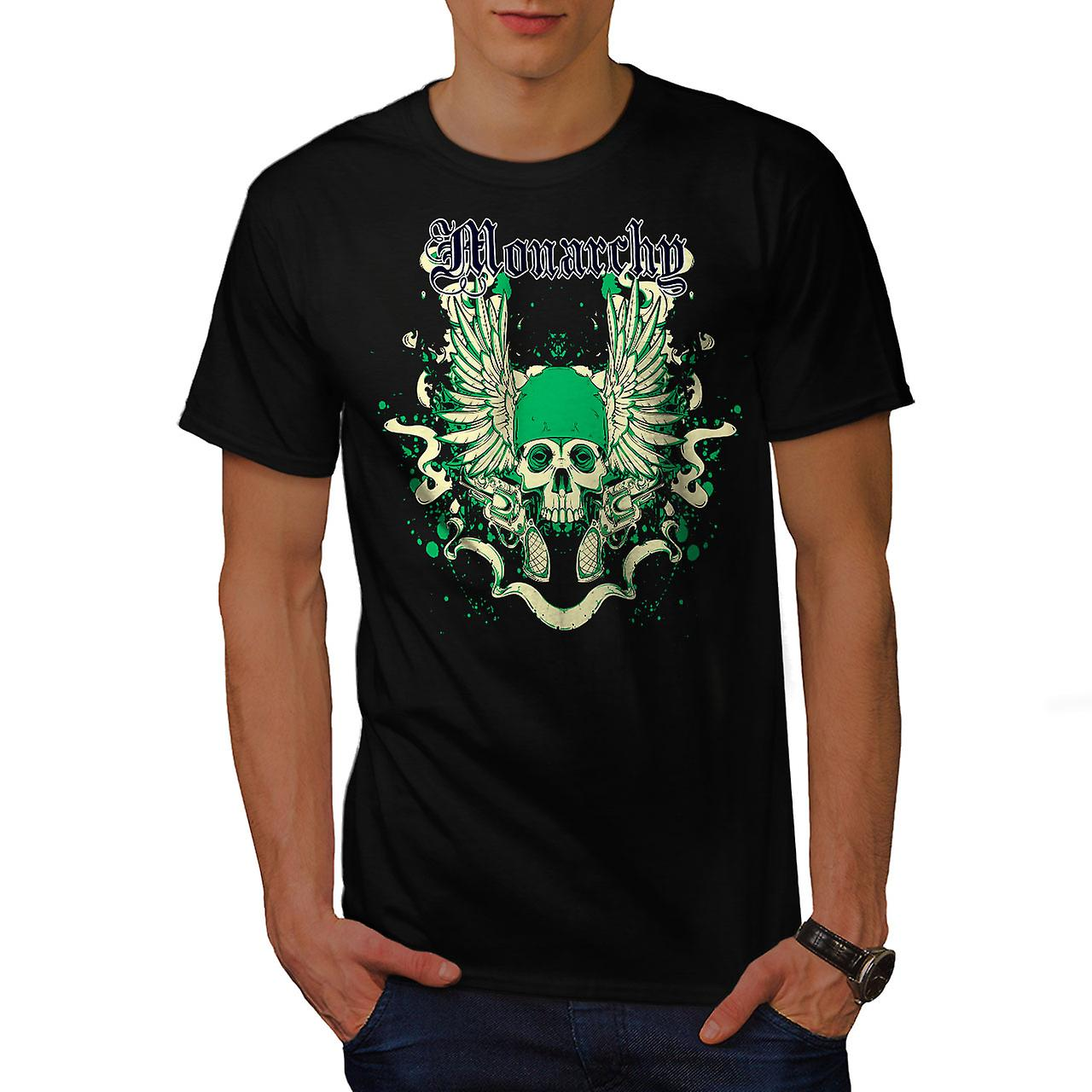 Wings Punk Gothic Skull Men Black T-shirt | Wellcoda