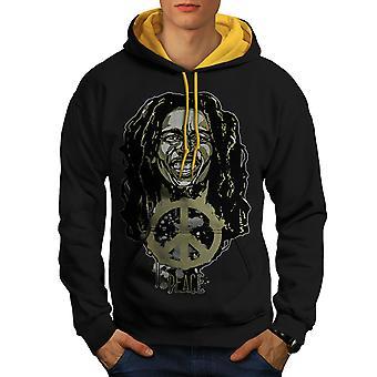 Vrede Rasta Bob Marley mannen zwart (gouden kap) Contrast Hoodie | Wellcoda
