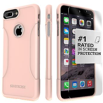 SaharaCase iPhone 8 Plus & 7 Plus Rose Gold Case, Classic Protective Kit Bundle with ZeroDamage Tempered Glass
