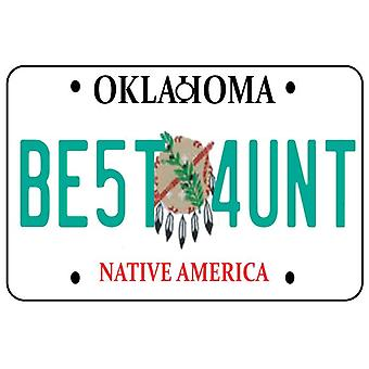 Oklahoma - Best Aunt License Plate Car Air Freshener