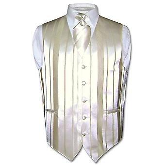 Men's Dress Vest & NeckTIE Woven Striped Neck Tie Set