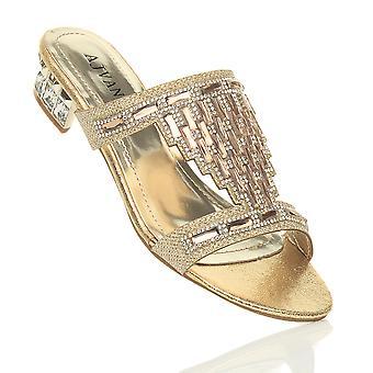 Ajvani женская низкий блок пятки Диаманте камень вечером скольжения на мулов флип-флоп сандалии Обувь