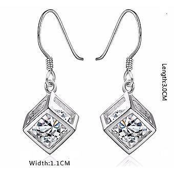 Womens Silver Cube Earrings