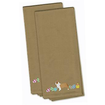Australian Shepherd Easter Tan Embroidered Kitchen Towel Set of 2
