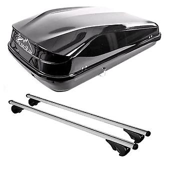 Roof Bars & 420L Large, Black Box For Jeep GRAND CHEROKEE Mk2 1998-2005