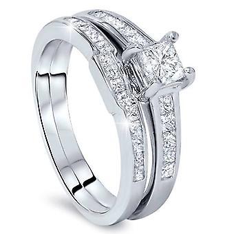 Princess Cut diamant bague de fiançailles bague de mariage Set 1ct 14 K White Gold