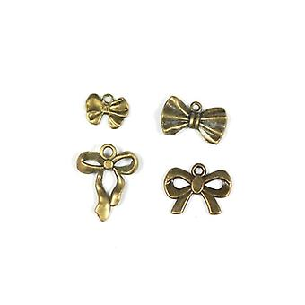 Packet 4 x Steampunk Bronze Tibetan 12-23mm Bowknot Charm/Pendant Set ZX17070