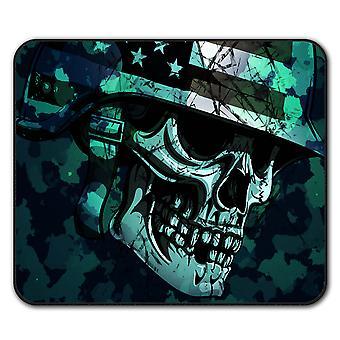 War Skull Biker Death USA  Non-Slip Mouse Mat Pad 24cm x 20cm | Wellcoda