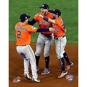 The Houston Astros Infield celebrates winning Game 7 of the 2017 World Series Photo Print