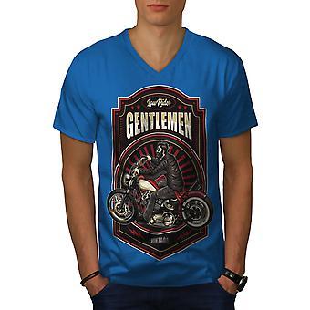 Hüfte bärtigen Biker Männer Royal BlueV-Neck T-shirt   Wellcoda