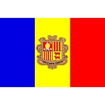 Andorransk flagg 5 ft x 3 ft med hull For hengende